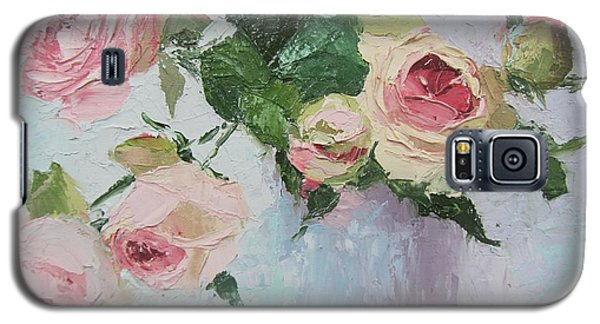 Beautiful Roses Oil Palette Knife Painting Galaxy S5 Case by Chris Hobel