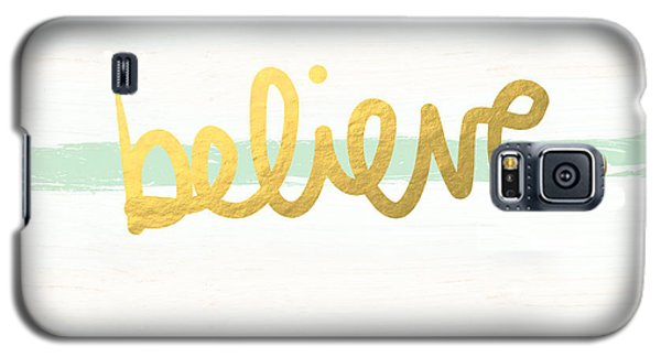 Believe In Mint And Gold Galaxy S5 Case