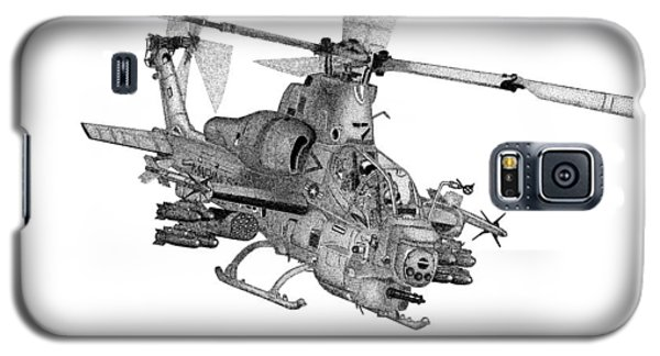 Galaxy S5 Case featuring the drawing Bell Helicopter Ah-1z Supercobra by Arthur Eggers