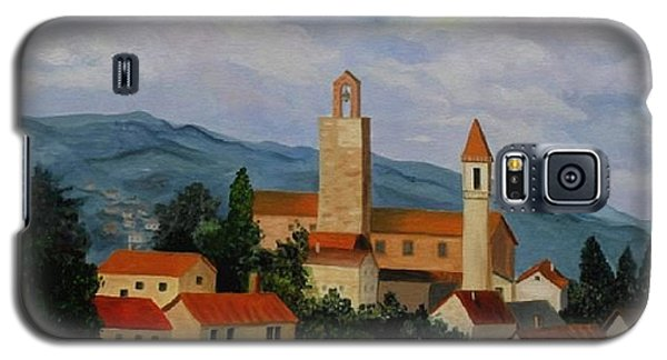 Galaxy S5 Case featuring the painting Bell Tower Of Vinci by Julie Brugh Riffey