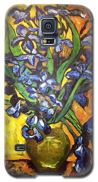 Galaxy S5 Case featuring the painting Belle's Pot Of Fiery Irises by Belinda Low