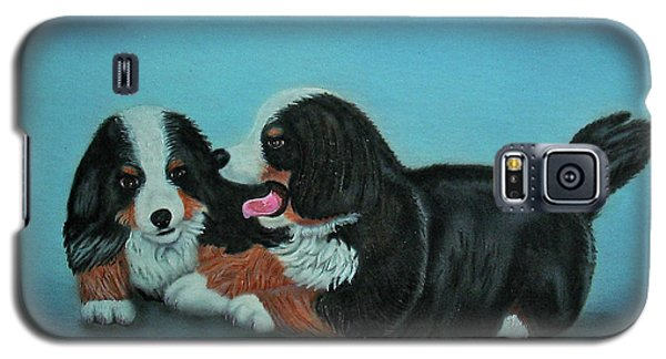 Galaxy S5 Case featuring the painting Bernese Mountain Puppies by Thomas J Herring