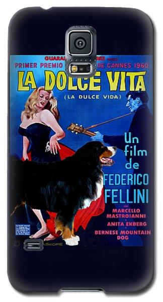 Bernese Mountain Dog Art Canvas Print - La Dolce Vita Movie Poster Galaxy S5 Case