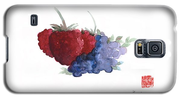 Berries Red Pink Black Blue Fruit Blueberry Blueberries Raspberry Raspberries Fruits Watercolors  Galaxy S5 Case
