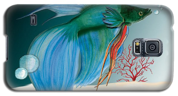 Galaxy S5 Case featuring the painting Beta Fish by Anne Beverley-Stamps