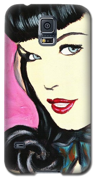 Galaxy S5 Case featuring the painting Bettie Page Pop Art Painting by Bob Baker