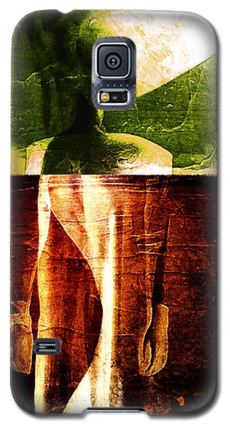 Galaxy S5 Case featuring the digital art Bicolor Flaming Face by Andrea Barbieri