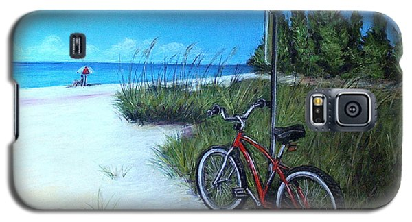 Bicycle On Sanibel Beach Galaxy S5 Case by Melinda Saminski
