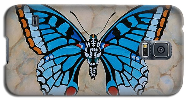 Galaxy S5 Case featuring the painting Big Blue Butterfly by Jo Appleby