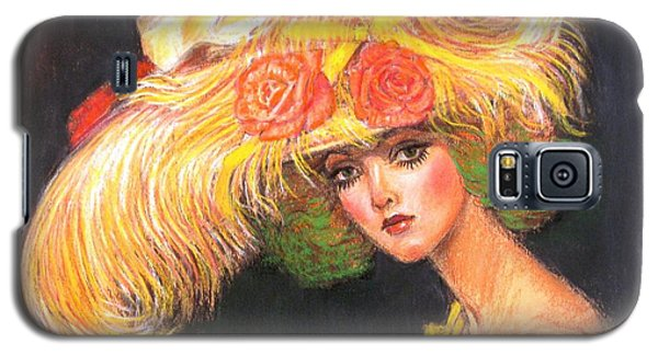 Galaxy S5 Case featuring the painting Big Yellow Fashion Hat by Sue Halstenberg