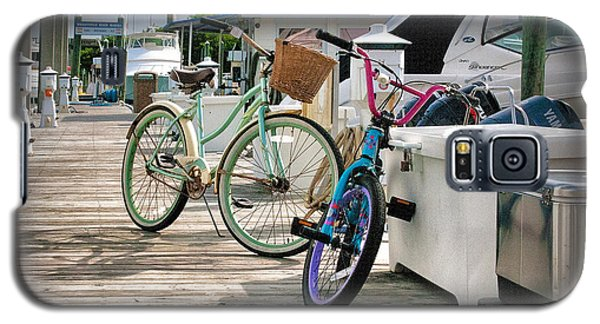 Galaxy S5 Case featuring the photograph Bikes On The Dock by Phil Mancuso