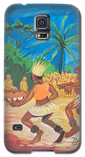 Galaxy S5 Case featuring the painting Bikutsi Dance 2 From Cameroon by Emmanuel Baliyanga