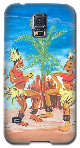 Galaxy S5 Case featuring the painting Bikutsi Dance 3 From Cameroon by Emmanuel Baliyanga