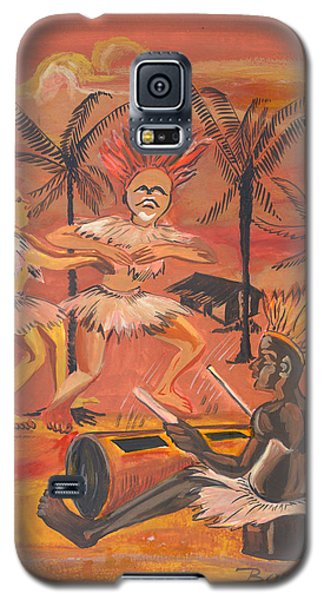 Galaxy S5 Case featuring the painting Bikutsi Dance From Cameroon by Emmanuel Baliyanga