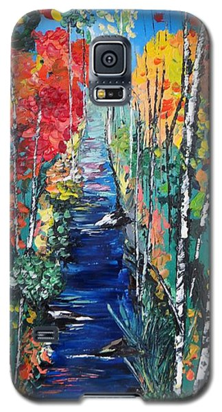 Birch Trees Along River Bank Galaxy S5 Case
