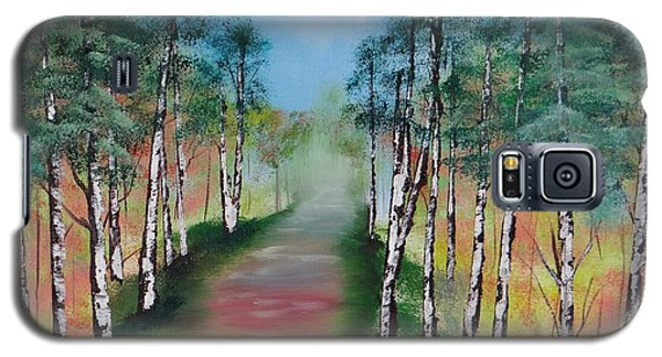 Birch Trees Along Winding Path Galaxy S5 Case
