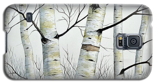 Birch Trees In The Forest In Watercolor Galaxy S5 Case