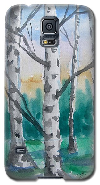 Galaxy S5 Case featuring the painting Birch Trees by Melinda Saminski