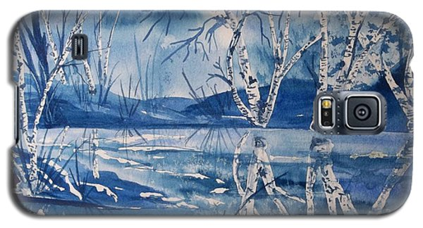 Birches In Blue Galaxy S5 Case by Ellen Levinson