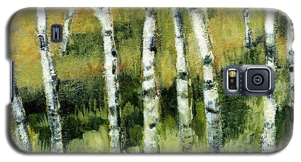 Galaxy S5 Case featuring the painting Birches On A Hill by Michelle Calkins
