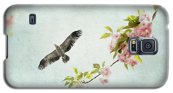 Bird And Pink And Green Flowering Branch On Blue Galaxy S5 Case by Brooke T Ryan