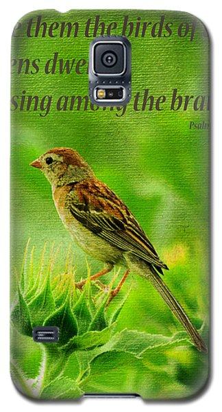 Bird In A Sunflower Field Scripture Galaxy S5 Case by Sandi OReilly