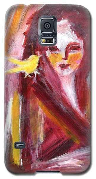 Galaxy S5 Case featuring the painting Bird In Hand by Anya Heller