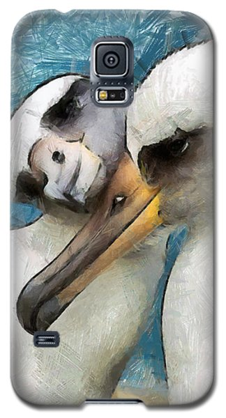 Galaxy S5 Case featuring the painting Bird Love by Georgi Dimitrov