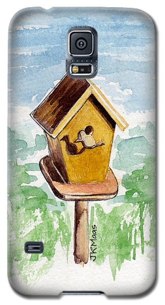 Birdhouse And Bird Of Wood Galaxy S5 Case by Julie Maas