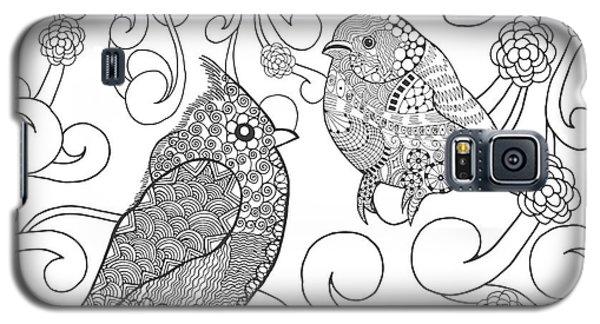 Branch Galaxy S5 Case - Birds Coloring Page. Animals. Hand by Palomita