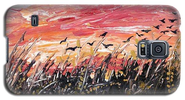 Birds In Wheatfield Galaxy S5 Case
