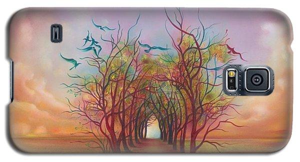 Galaxy S5 Case featuring the painting Birds Of Rainbow Mist by Anna Ewa Miarczynska