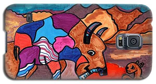 Galaxy S5 Case featuring the drawing Bison And Prairie Dog by Don Koester