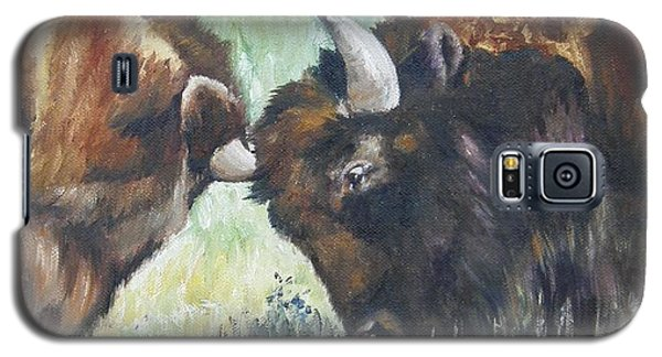 Galaxy S5 Case featuring the painting Bison Brawl by Lori Brackett