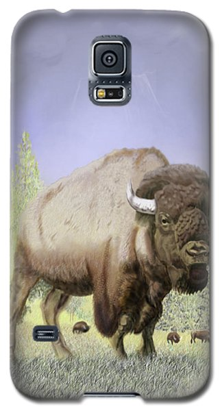 Galaxy S5 Case featuring the digital art Bison On The Range by Thomas J Herring