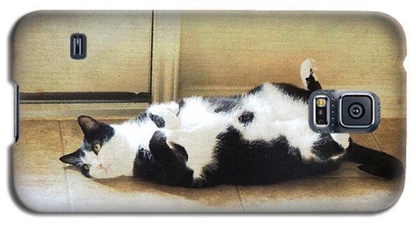 Black And White Cat Reclining Galaxy S5 Case by Jayne Wilson