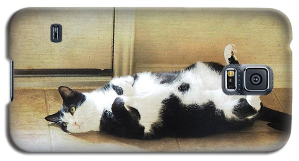 Black And White Cat Reclining Galaxy S5 Case