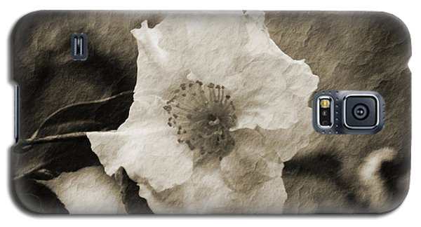 Galaxy S5 Case featuring the photograph Black And White Flower With Texture by Maggy Marsh