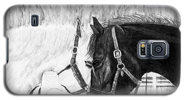 Black And White Horses Art Print Galaxy S5 Case