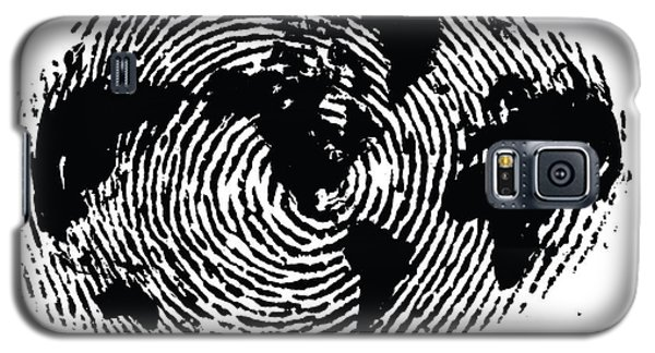 black and white ink print poster One of a Kind Global Fingerprint Galaxy S5 Case by Sassan Filsoof