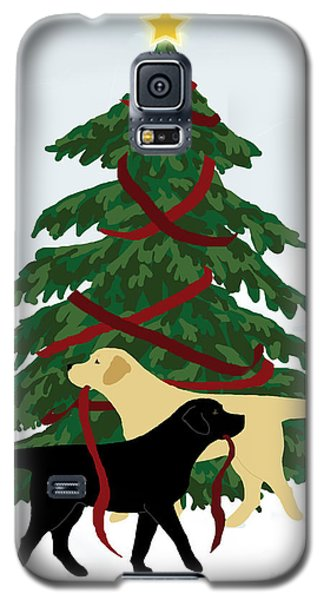 Black And Yellow Labs Trim Christmas Tree Galaxy S5 Case