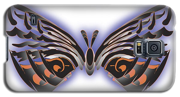 Black Blue Orange Butterfly Galaxy S5 Case