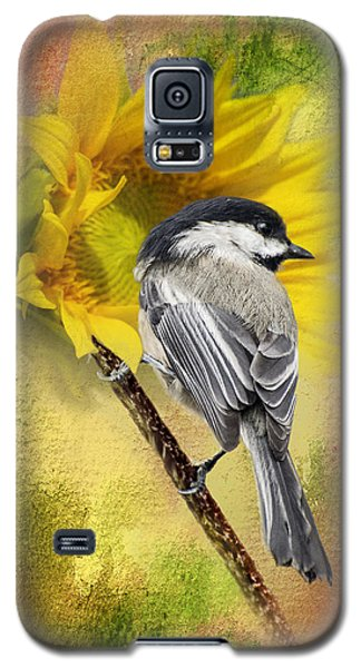 Black Capped Chickadee Checking Out The Sunflowers Galaxy S5 Case