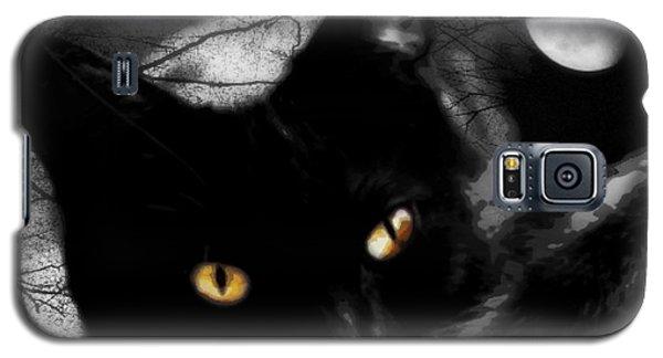 Galaxy S5 Case featuring the digital art Black Cat Golden Eye by Mindy Bench