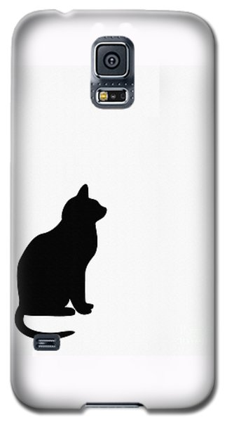 Black Cat Silhouette On A White Background Galaxy S5 Case