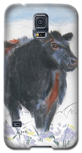Black Cow Drawing Galaxy S5 Case