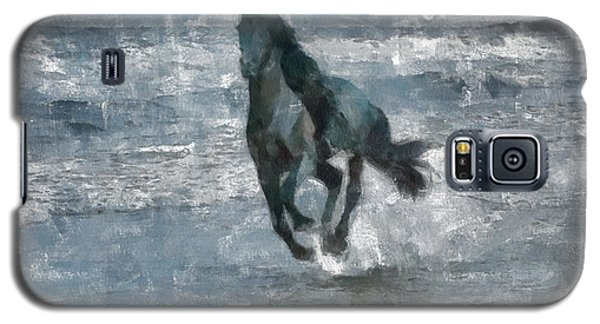 Galaxy S5 Case featuring the painting Black Horse Running On The Beach by Georgi Dimitrov