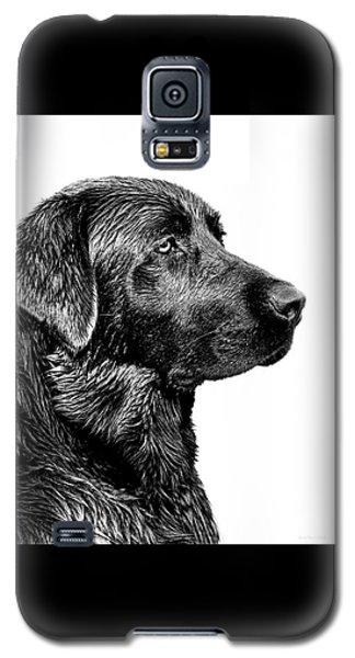 Prairie Dog Galaxy S5 Case - Black Labrador Retriever Dog Monochrome by Jennie Marie Schell