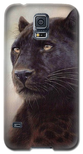 Black Leopard Painting Galaxy S5 Case by Rachel Stribbling