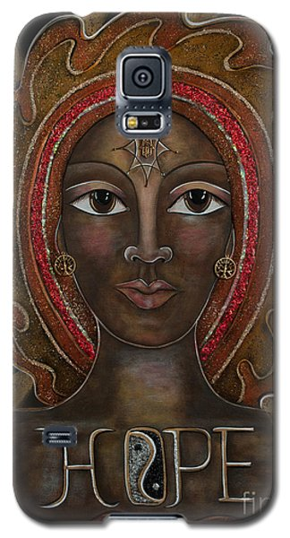Galaxy S5 Case featuring the painting Black Madonna - Hope by Deborha Kerr